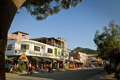 Main street view of Puerto Lopez, popular vacation Stock Photo