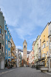 The main street of Vipiteno, small town in northern Italy Stock Image