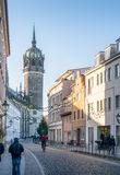 The main street at Wittenberg, Germany leading to the famous church where Martin Luther nailed the ninety-five theses on the door royalty free stock images