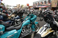 Main Street during the worlds largest motorcycle rally in Sturgis royalty free stock photography