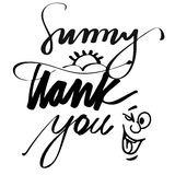 Main Sunny Thank You en lettres Photo stock