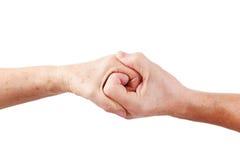 Main supérieure de femme de prise de main d'homme Image stock