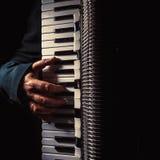 Main sur l'accordéon tout en jouant photographie stock libre de droits