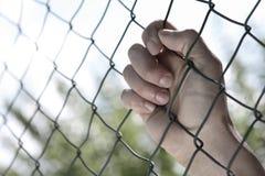 Main sur la frontière de sécurité images libres de droits