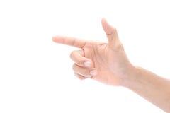 Main sur le fond blanc, d'isolement Image stock