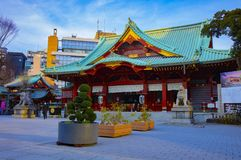 Main temple at Kanda shrine in Tokyo. Main temple at Japanese traditional shrine. Chiyoda district Tokyo Japan - 02.07.2019 : It s a main temple at the royalty free stock photos