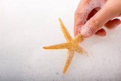 Main tenant des étoiles de mer dans l'eau mousseuse Photo stock