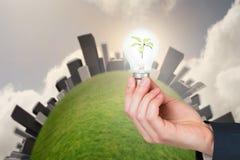 Main tenant l'ampoule environnementale Photographie stock libre de droits
