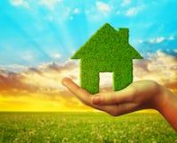 Main tenant l'icône verte de maison d'Eco photographie stock libre de droits