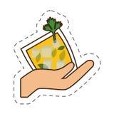 main tenant la boisson en verre de cocktail de tasse illustration stock