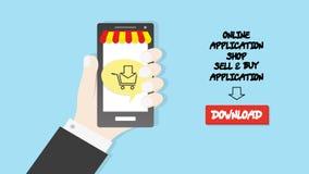 Main tenant le fond d'affaires de concept de boutique d'application de commerce d'icône de chariot de smartphone Images libres de droits