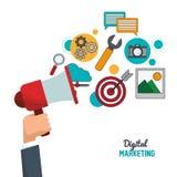 Main tenant le marketing numérique de haut-parleur Photo stock