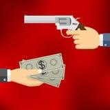 Main tenant le pistolet et main donnant l'argent Photographie stock libre de droits