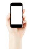 Main tenant le smartphone avec l'écran vide Images libres de droits