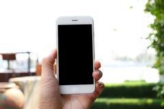 Main tenant le smartphone avec le fond de jardin Images libres de droits