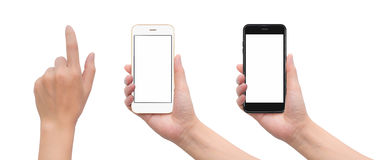 Main tenant le smartphone avec le geste émouvant de main Photographie stock