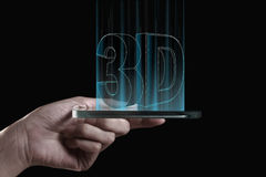 Main tenant le smartphone 3D transparent Images libres de droits