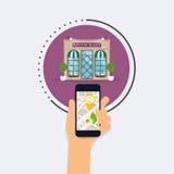 Main tenant le téléphone intelligent mobile avec la recherche mobile d'application Image libre de droits