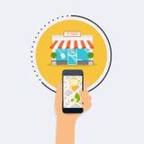 Main tenant le téléphone intelligent mobile avec la recherche mobile d'application Images libres de droits