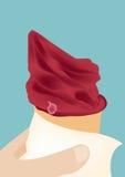 Main tenant le vecteur rouge de cornet de crème glacée ; dessert froid délicieux d'été Photo stock
