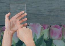 Main tenant un comprimé en verre avec des fleurs Photo stock