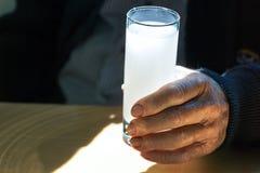 Main tenant un verre avec l'ouzo photographie stock libre de droits