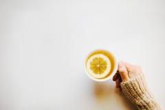Main tenant une tasse de thé Photo stock