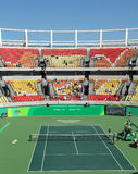 Main tennis venue Maria Esther Bueno Court of the Rio 2016 Olympic Games during women's doubles fina Stock Photos