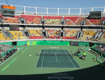 Main tennis venue Maria Esther Bueno Court of the Rio 2016 Olympic Games during women's doubles fina Royalty Free Stock Photos