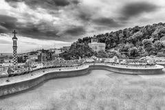 Main terrace of Park Guell, Barcelona, Catalonia, Spain Stock Image