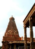 Main tower with front hall of the ancient  Brihadisvara Temple in Thanjavur, india. Ancient temple-UNESCO World Heritage centre known as the `Great Living Chola Royalty Free Stock Photography