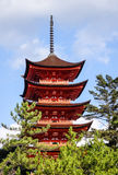 The main tower of Itsukushima Shrine in Hiroshima, Japan.  Royalty Free Stock Photo