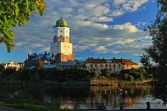 The main tower of the lock in Vyborg. The Vyborsky lock on the island Royalty Free Stock Photos