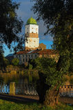 The main tower of the lock in Vyborg. The Vyborsky lock on the island Stock Images