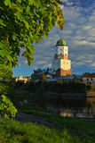 The main tower of the lock in Vyborg. The Vyborsky lock on the island Stock Image