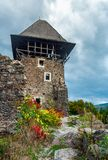 Main tower of Nevytsky castle. Ruins of medieval fortress, popular tourist destination of TransCarpathia Stock Photos