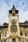 Main tower of he Peles castle in Sinaia. Romania Royalty Free Stock Photography