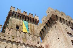 Main tower and smaller tower of a castle, Ancona, Italy Royalty Free Stock Photo