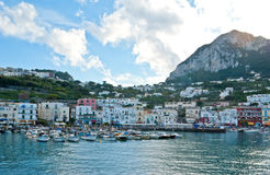 The harbour of Capri island. The main town Capri on the island shares the name. The main port of the island is Marina Grande. Campania region, Italy royalty free stock images