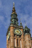 Main Town Hall clock tower in the Old Town of Gdansk in Poland. Royalty Free Stock Photo