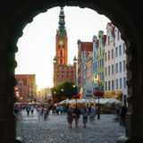 Main Town Hall and Long Market, Gdansk. GDANSK, POLAND - SEPTEMBER 13 2016: Main Town Hall and Long Market at sunset viewed from Green Gate, Gdansk Main City Royalty Free Stock Images