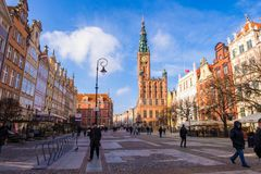 The Main Town Hall at Long Market Street on Royal Route in Old Town of Gdansk, Poland royalty free stock photos