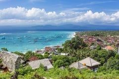 Nusa Lembongan Island main town. Main town of Nusa Lembongan Island, Bali, Indonesia, with boats awaiting to go to mainland Bali Royalty Free Stock Photography