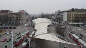 Main Tram Station Vienna. Main Tram Station in Vienna with panoramic view over Vienna and its traffic stock footage