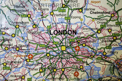 Main transprt routes of London. Atlas view shoring the main roads,motorways and airports around London Stock Photography