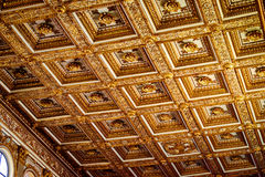 The main vault of the church Santa Maria Maggiore is completely studded with pure gold in Rome Stock Photo