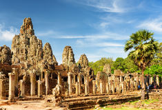Main view of ancient Bayon temple in Angkor Thom in evening sun Stock Photography
