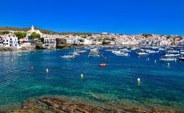 Main view of Cadaqués bay and village, from `Es Llaner Gran` beach, Costa Brava, Mediterranean Sea, Catalonia, Spain Stock Images