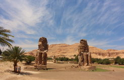 Main view of Colossi of Memnon statues, Luxor, Egypt Stock Photos