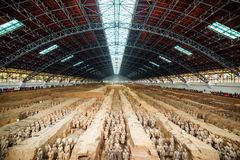 Main view of corridors with ranks of terracotta soldiers. The Terracotta Army, the Qin Shi Huang Mausoleum of the First Emperor of China Royalty Free Stock Photography